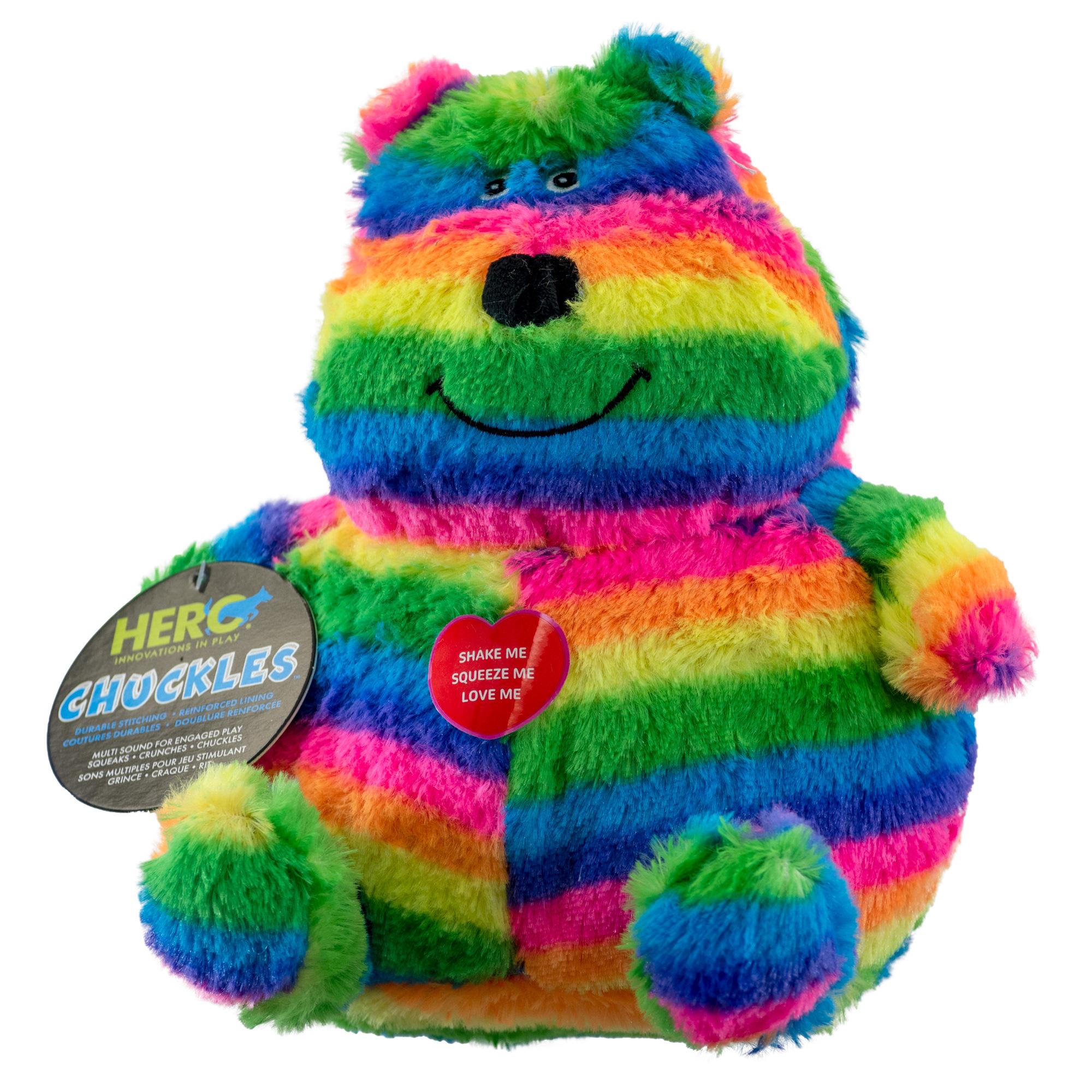 Rainbow colored dog toy